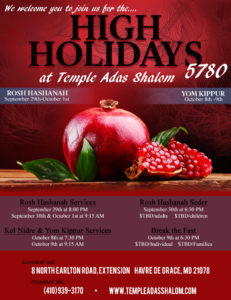 Flyer for High Holiday 5780